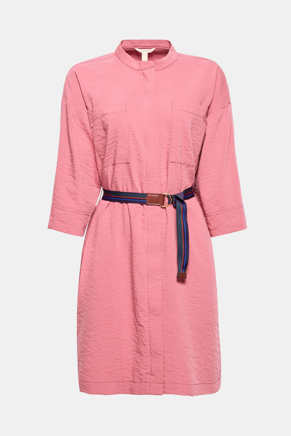 The loose oversized style and distinctive striped belt make this dress an on-trend It piece!