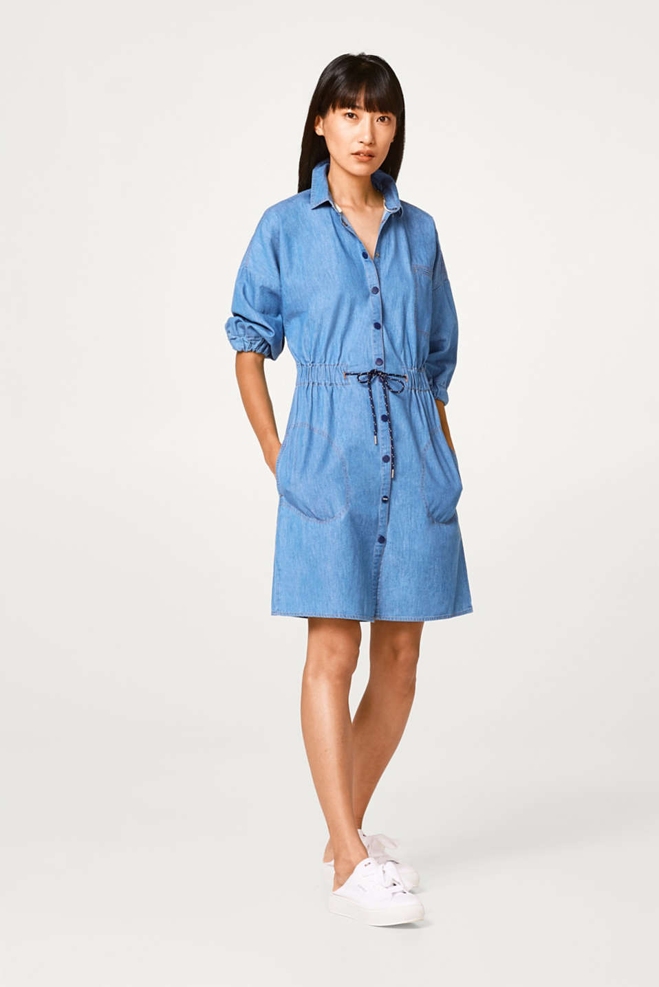Fitted cotton denim dress