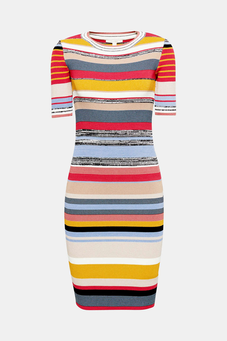 This figure-hugging dress in snug rib knit gets a feel-good look from its fashionable striped pattern.