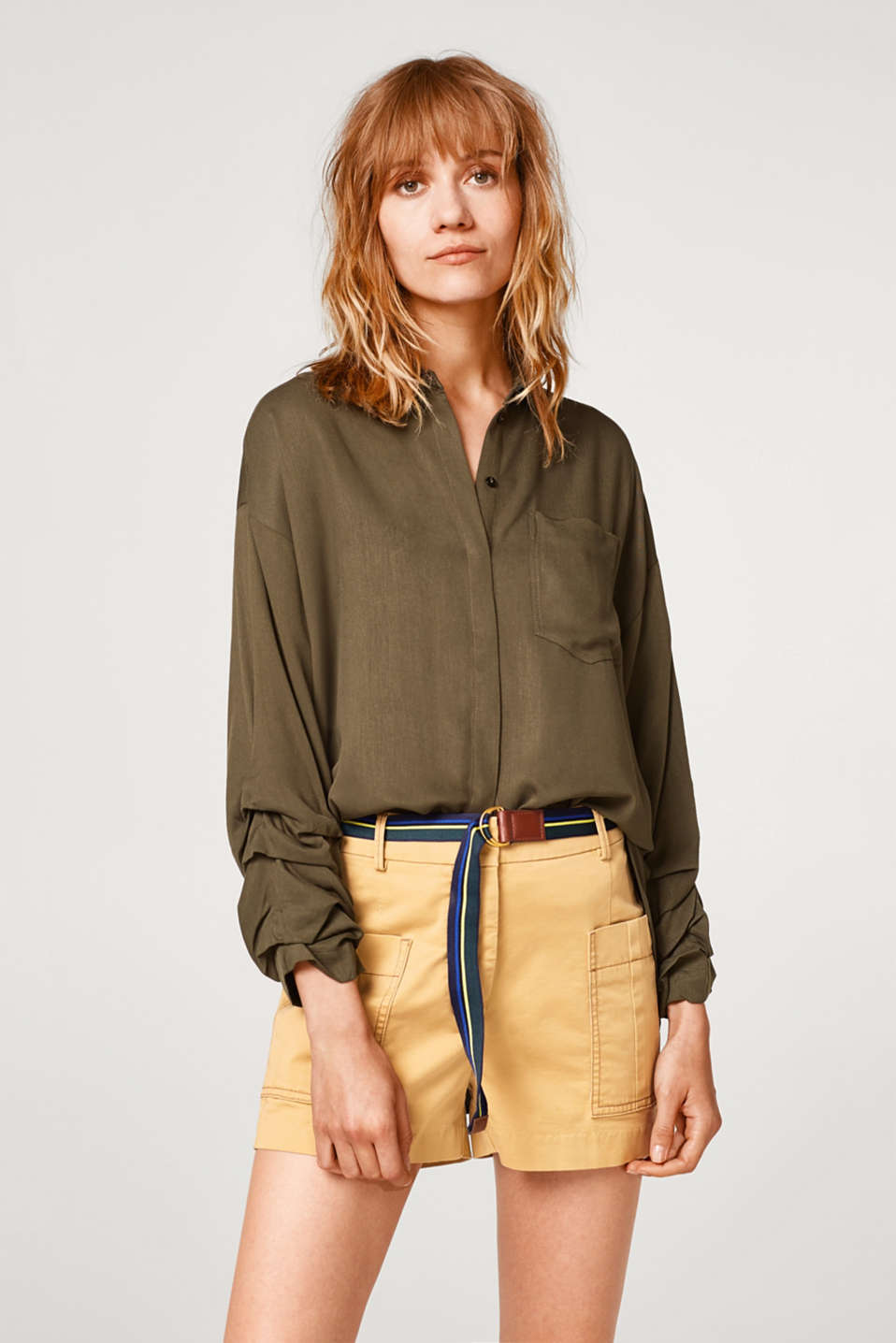 Esprit - Cotton blouse with gathered sleeves