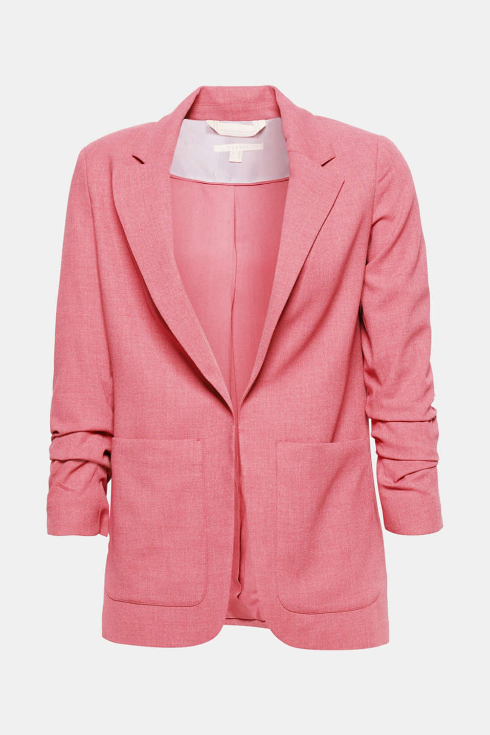 Gathered 3/4-length sleeves and a long, open-fronted silhouette make this melange stretch blazer a fashion piece.