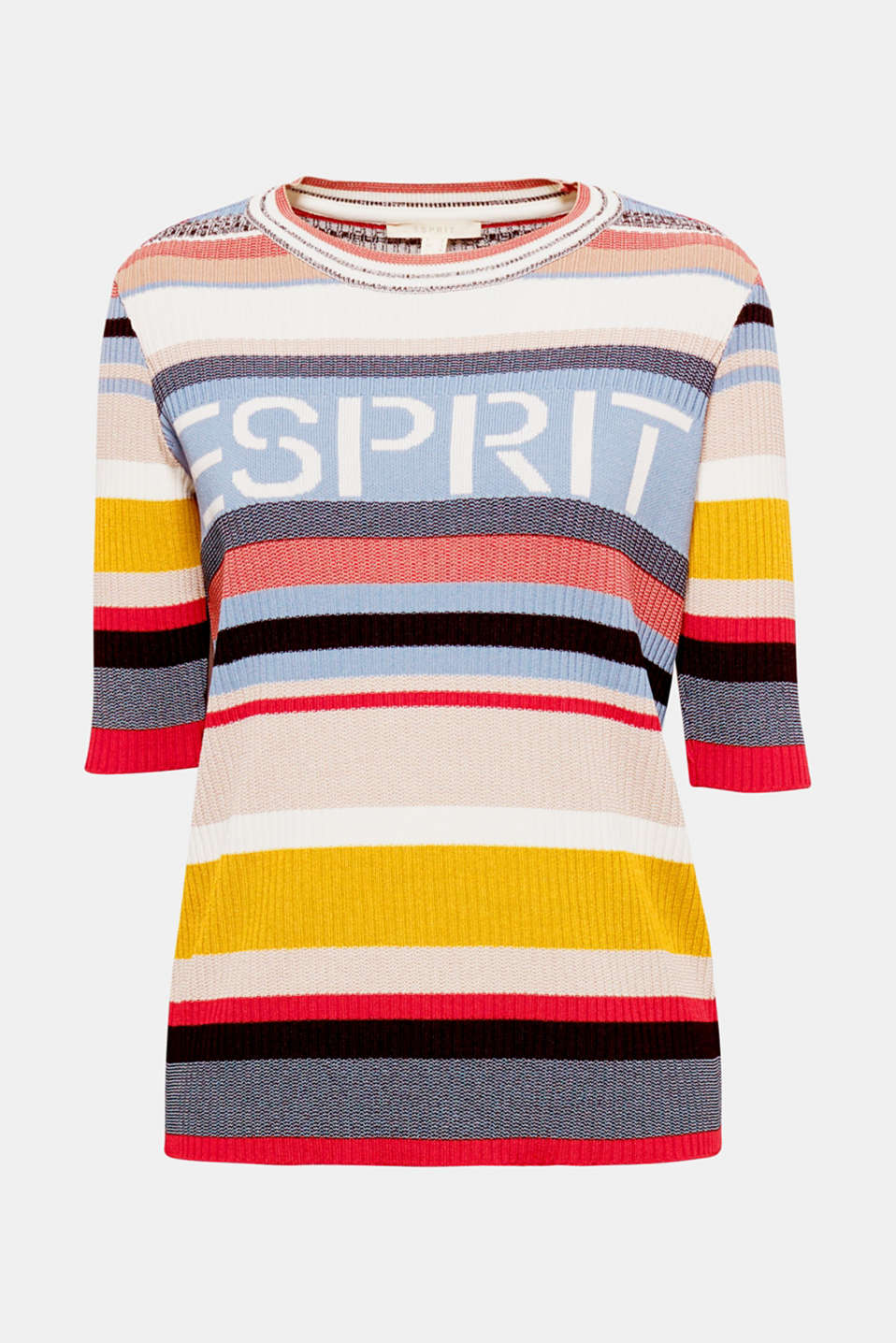 Colourful stripes, a classic logo and soft rib knit make this short-sleeved jumper a fancy eye-catcher with a trendy retro flair!
