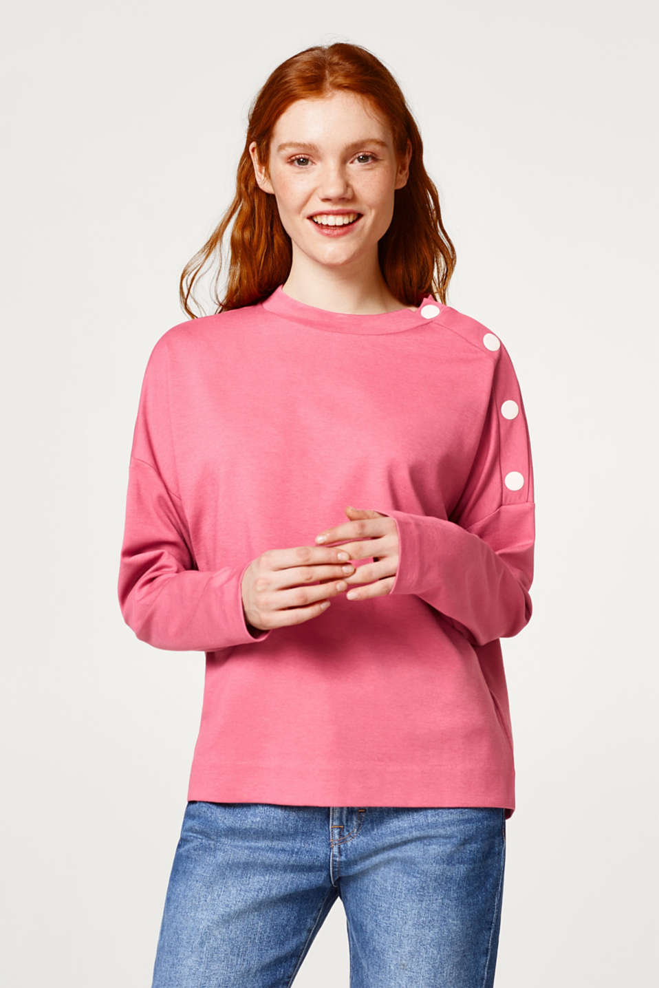 Esprit - Sweatshirt with a logo print or plain coloured