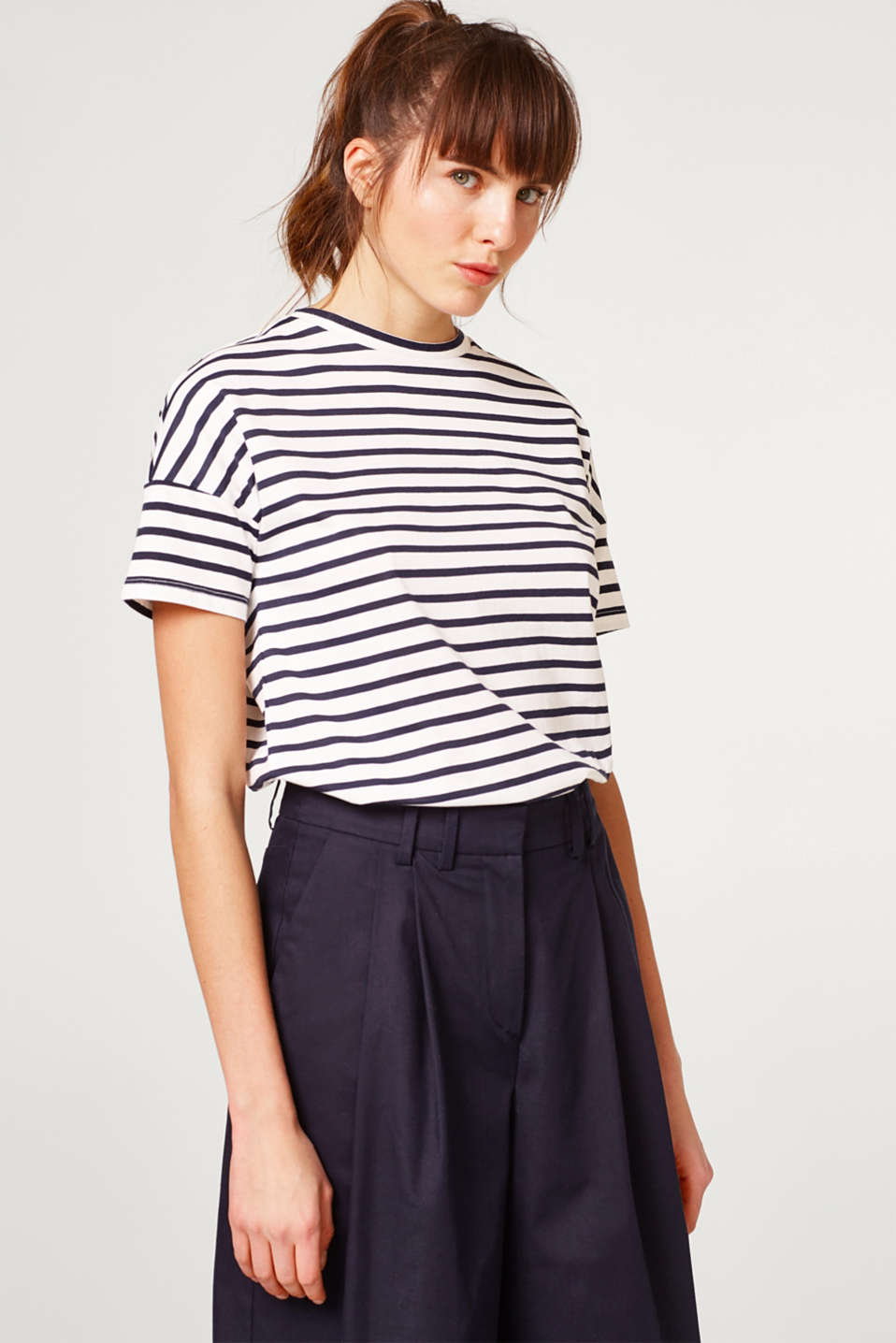 Esprit - Striped organic cotton-jersey T-shirt