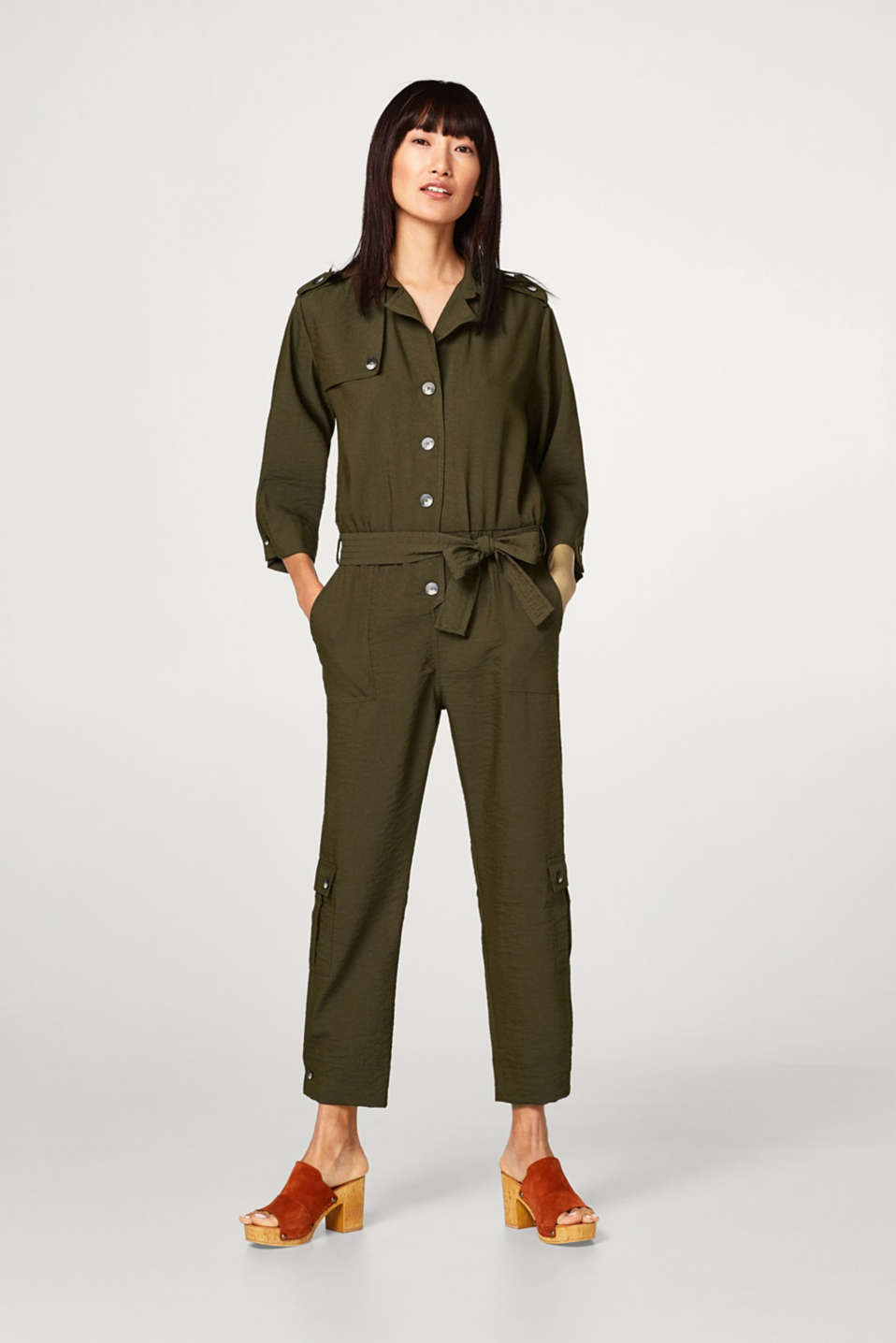 Flowing trench-look jumpsuit