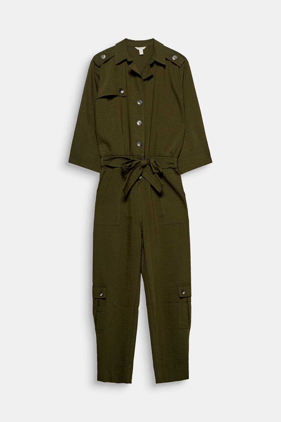 The softly draped material in a trench/cargo style makes this jumpsuit bang on trend.