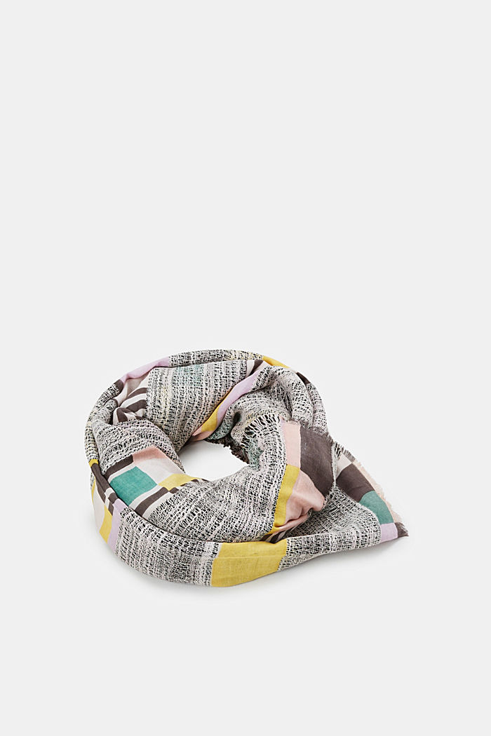 Colourful scarf with textured stripes, SALMON, detail image number 0