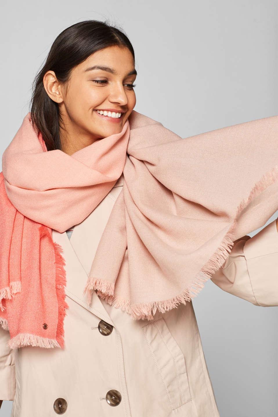 Block stripe scarf, SALMON, detail image number 1