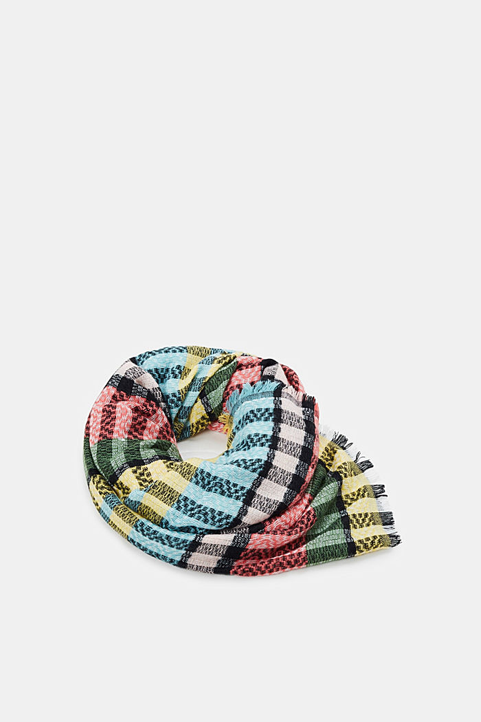 Woven scarf with colourful stripes, LIGHT KHAKI, detail image number 0