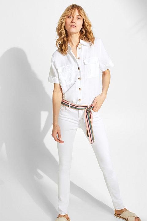 Stretch jeans with a striped belt
