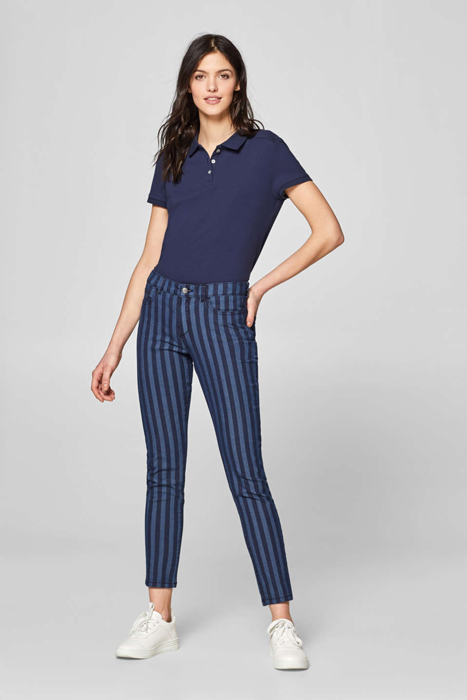 edc - Stretch trousers with a striped pattern