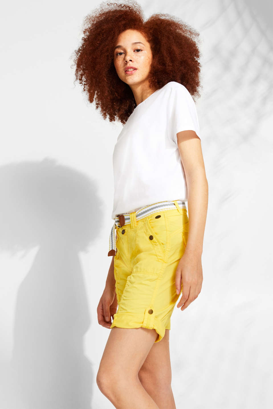 edc - Versatile PLAY Bermudas with a belt, 100% cotton