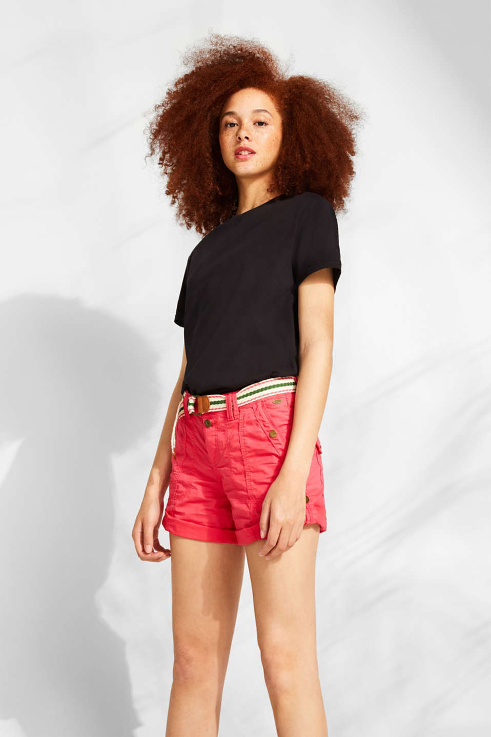 PLAY shorts with a belt, 100% cotton, BERRY RED, detail image number 0