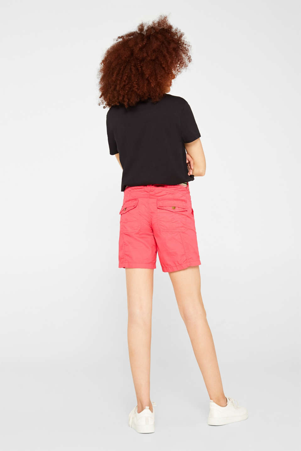 PLAY shorts with a belt, 100% cotton, BERRY RED, detail image number 3