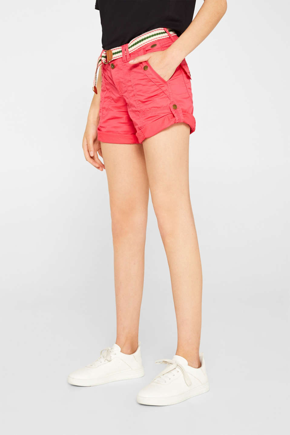 PLAY shorts with a belt, 100% cotton, BERRY RED, detail image number 7