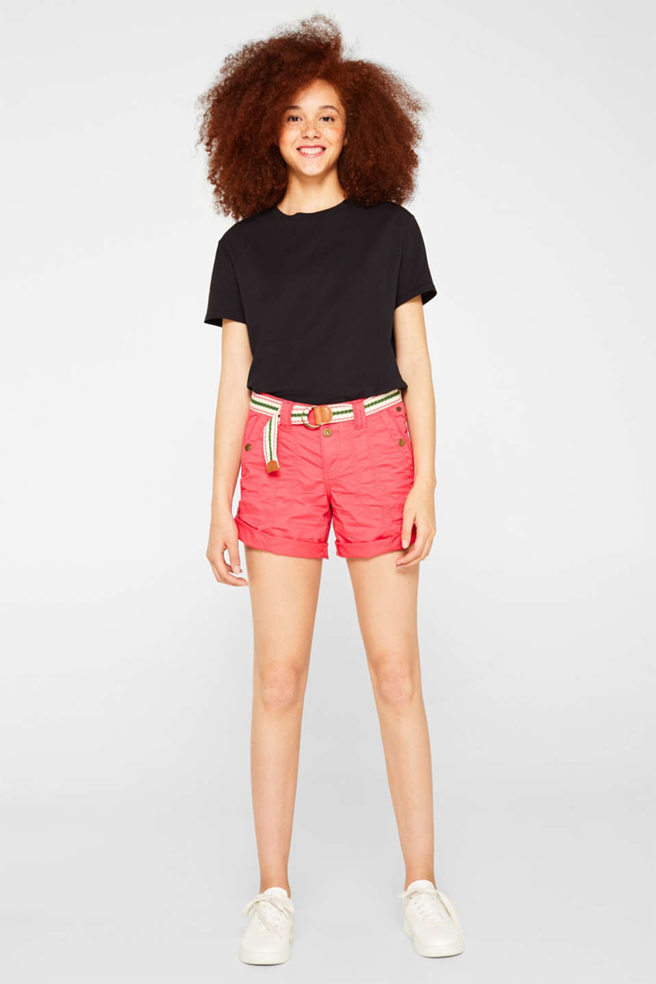 PLAY shorts with a belt, 100% cotton, BERRY RED, detail image number 1