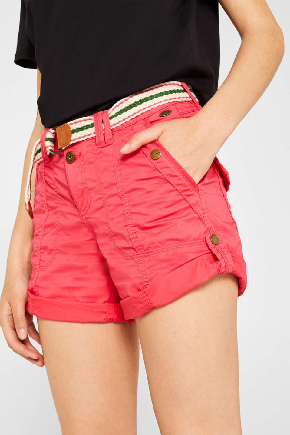 PLAY shorts with a belt, 100% cotton, BERRY RED, detail image number 2