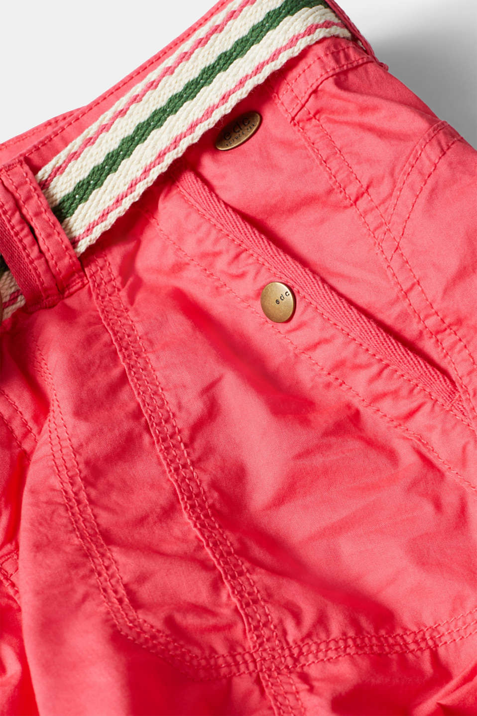 PLAY shorts with a belt, 100% cotton, BERRY RED, detail image number 4