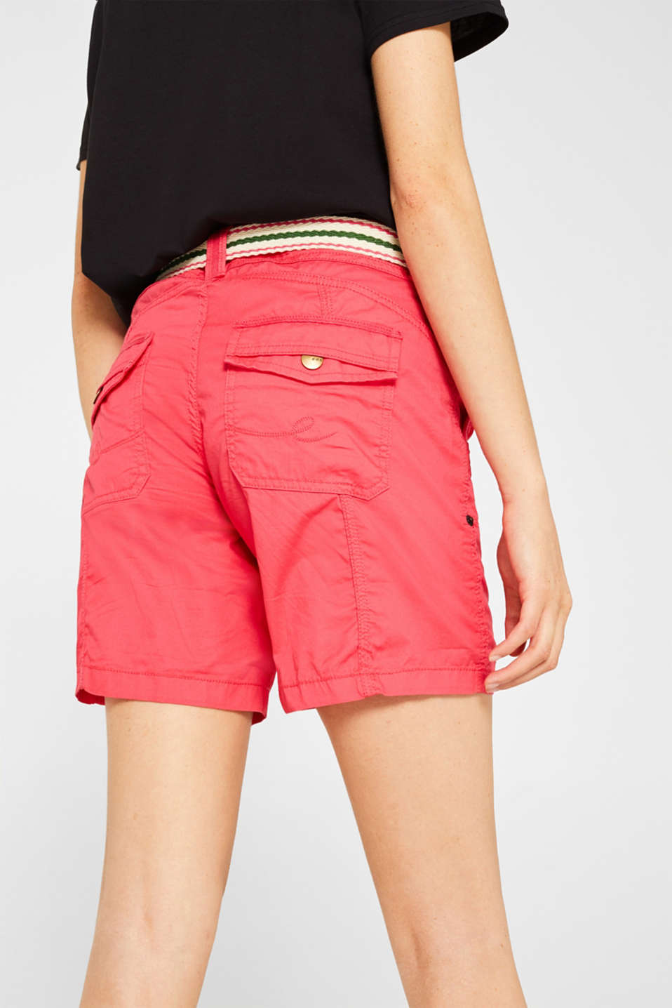 PLAY shorts with a belt, 100% cotton, BERRY RED, detail image number 6