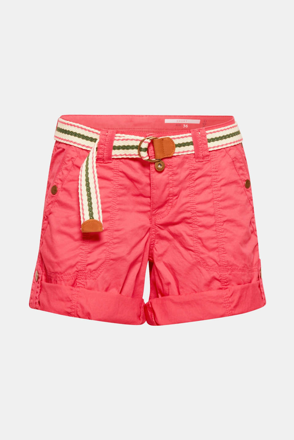 PLAY shorts with a belt, 100% cotton, BERRY RED, detail image number 8