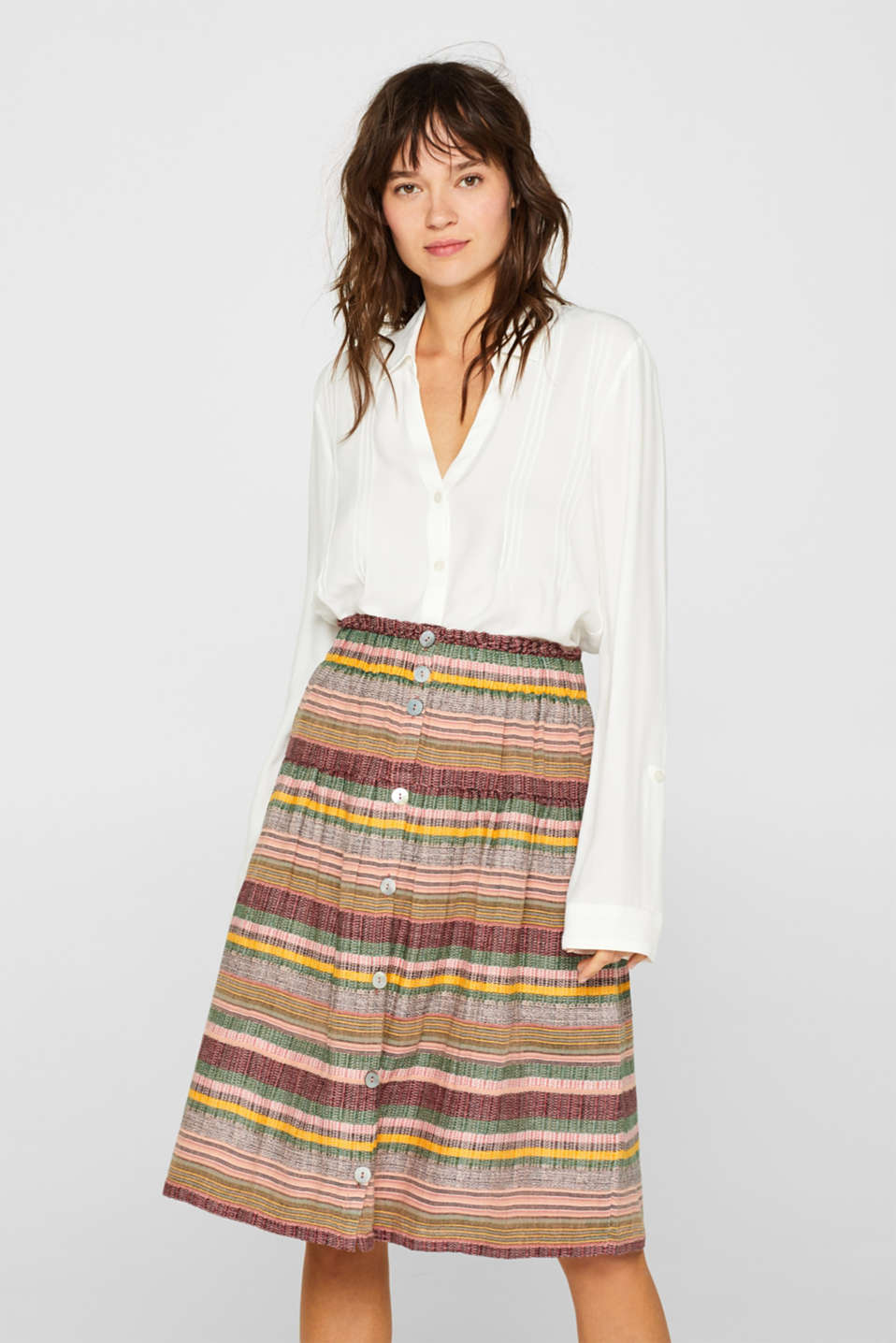edc - Multi-coloured skirt with button placket, 100% cotton