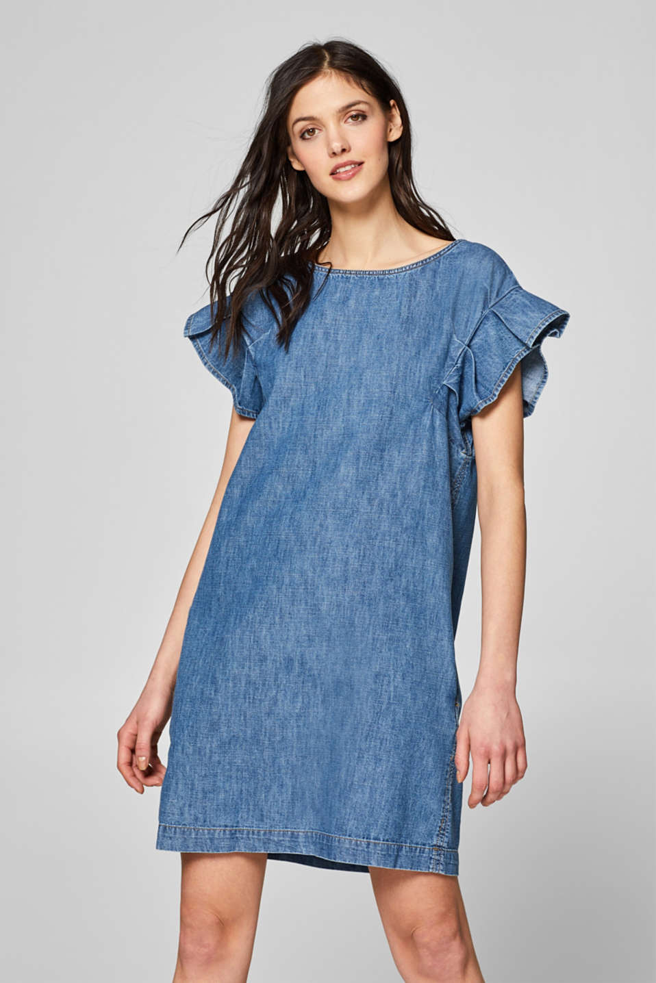 Denim dress with flounce sleeves, 100% cotton