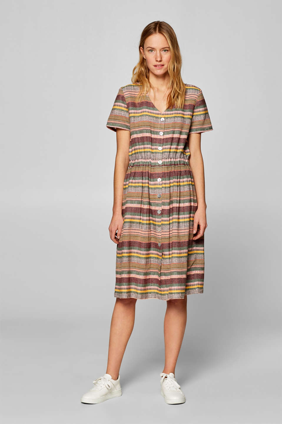 edc - Multi-colour stripe dress, 100% cotton