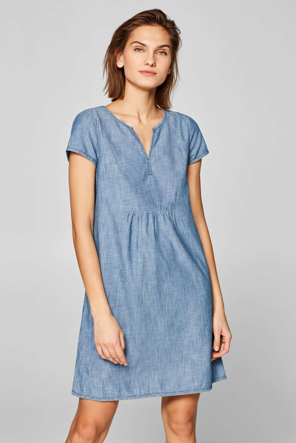 edc - Tunic dress in chambray, 100% cotton