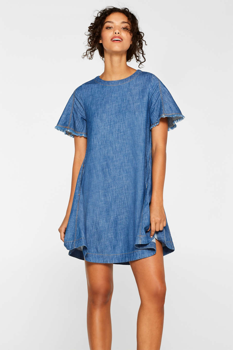 edc - Denim dress with fringing and a lacing detail