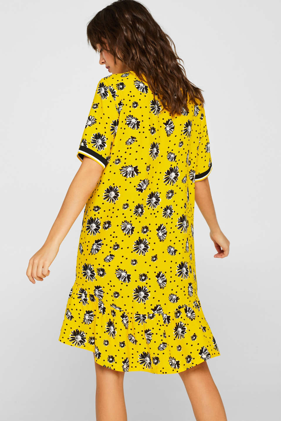Printed dress with jersey borders, YELLOW, detail image number 4