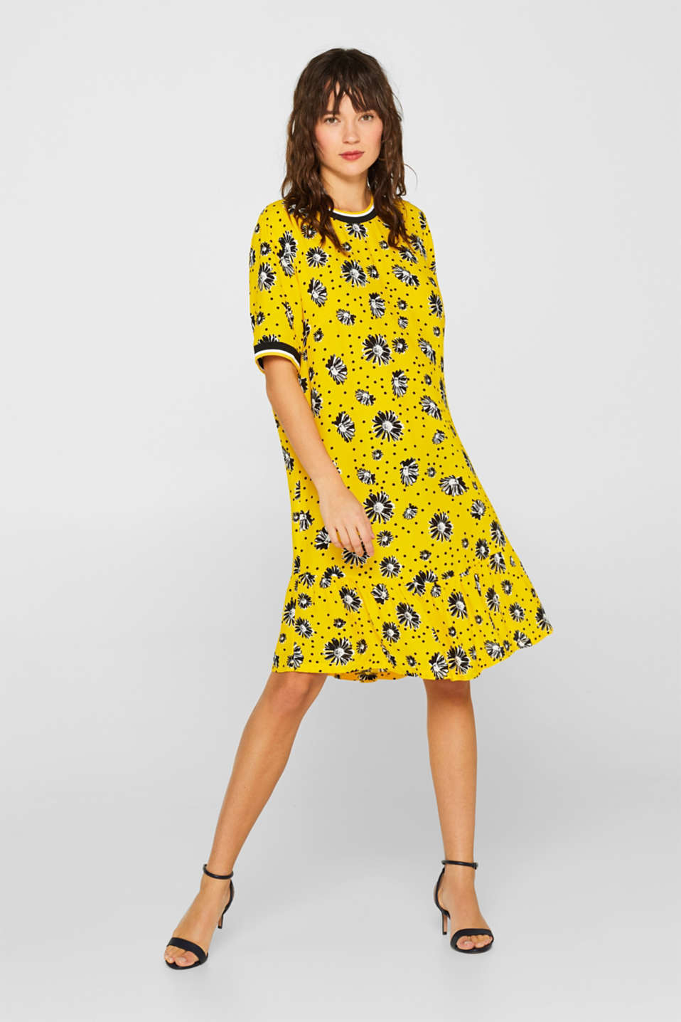 Printed dress with jersey borders, YELLOW, detail image number 1