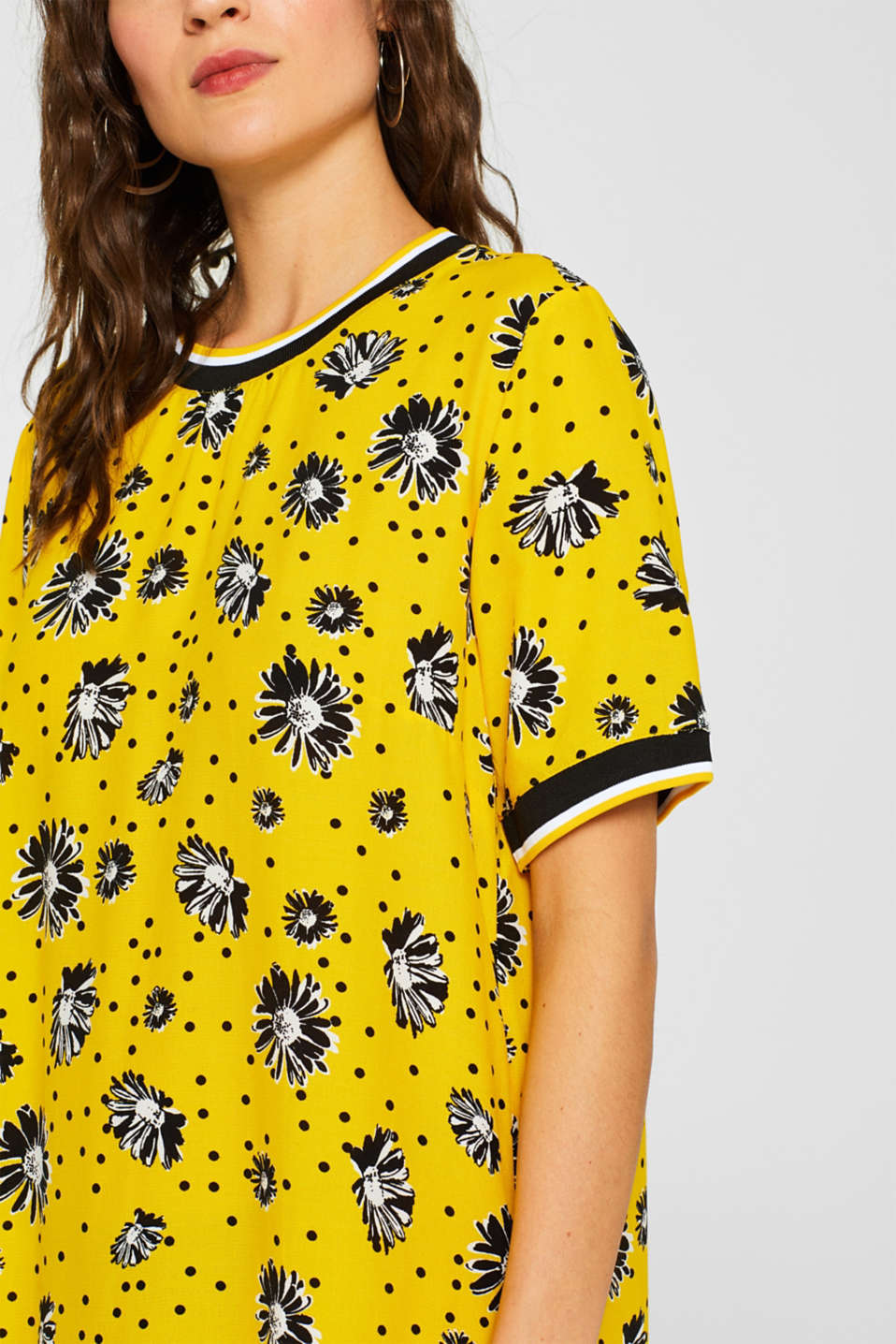 Printed dress with jersey borders, YELLOW, detail image number 3
