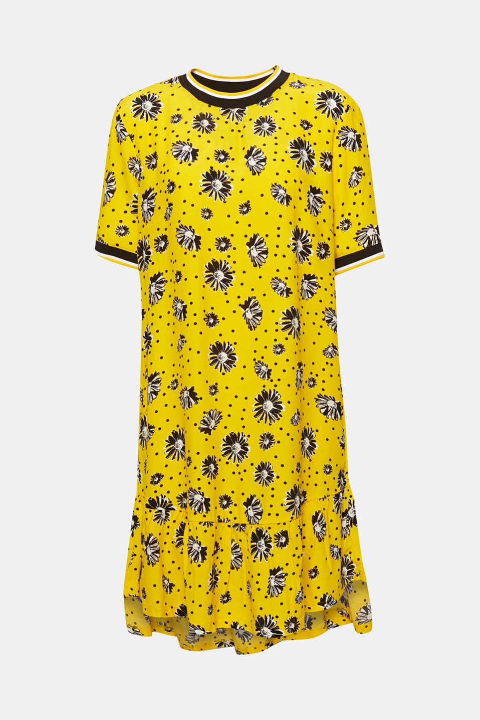 Printed dress with jersey borders, YELLOW, detail image number 7