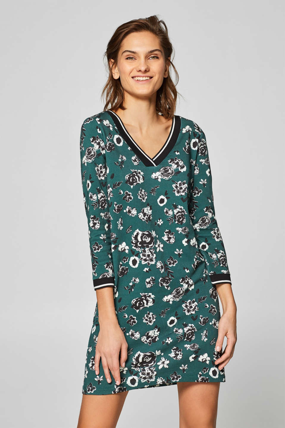 edc - Sweatshirt dress with a floral print, 100% cotton
