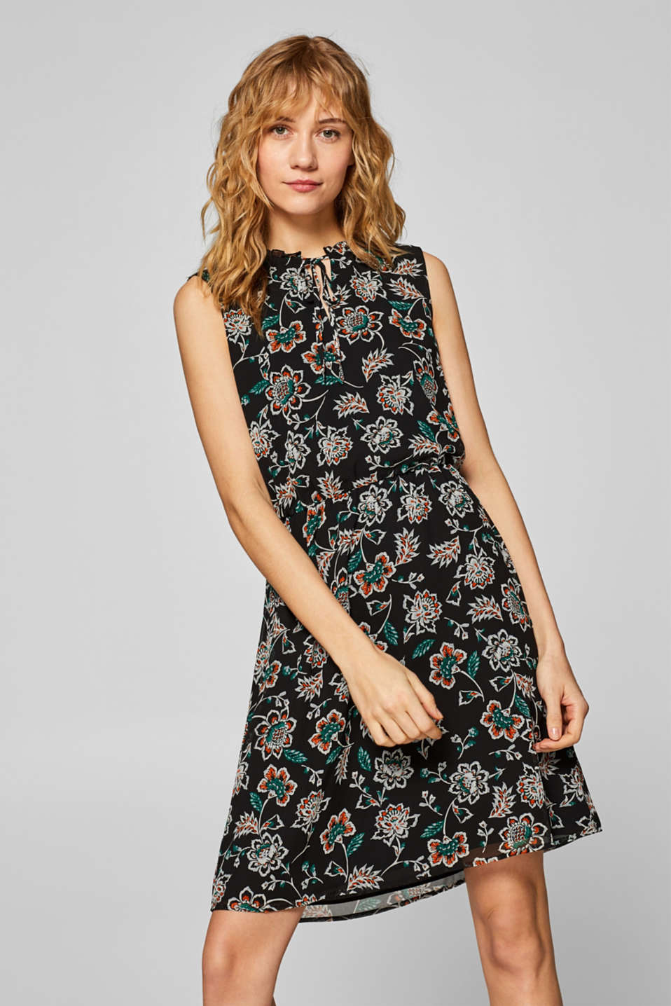 Chiffon dress with a print and frilled neckline