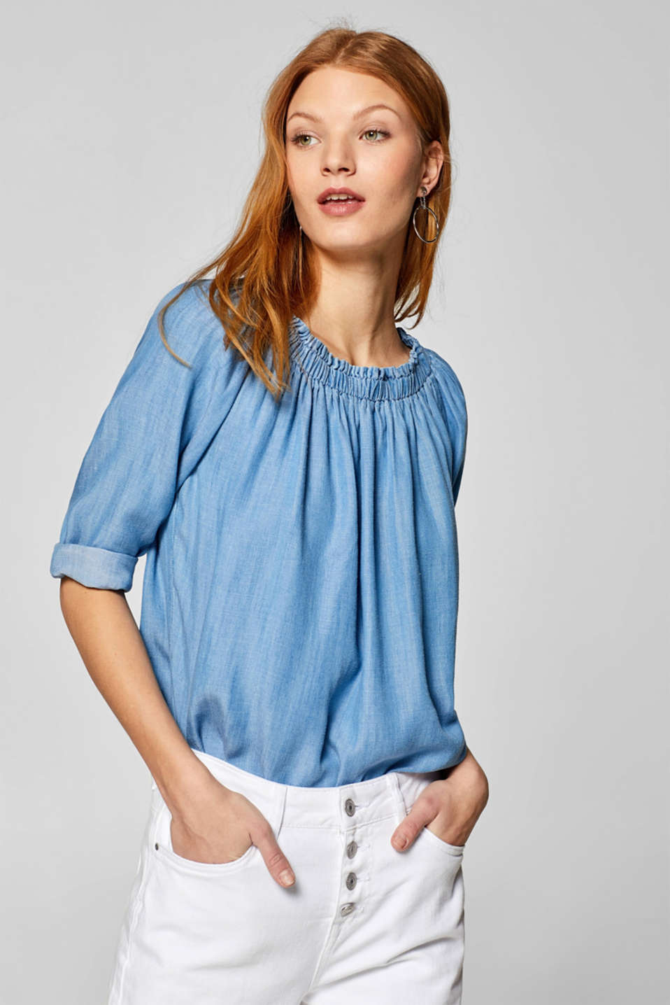 edc - Bardot blouse in a denim look made of 100% lyocell