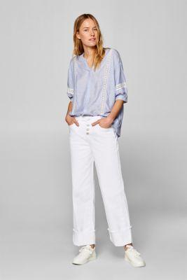 Striped blouse with lace trims, PASTEL BLUE, detail