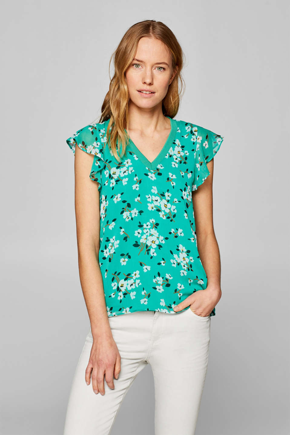 edc - Blouse top in crinkle chiffon