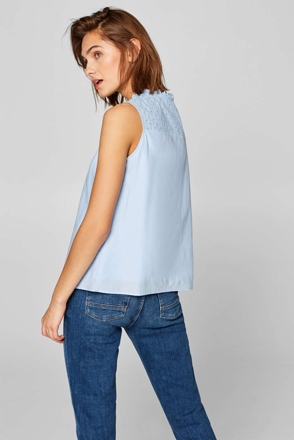 A-line blouse top with broderie anglaise, LIGHT BLUE, detail image number 3