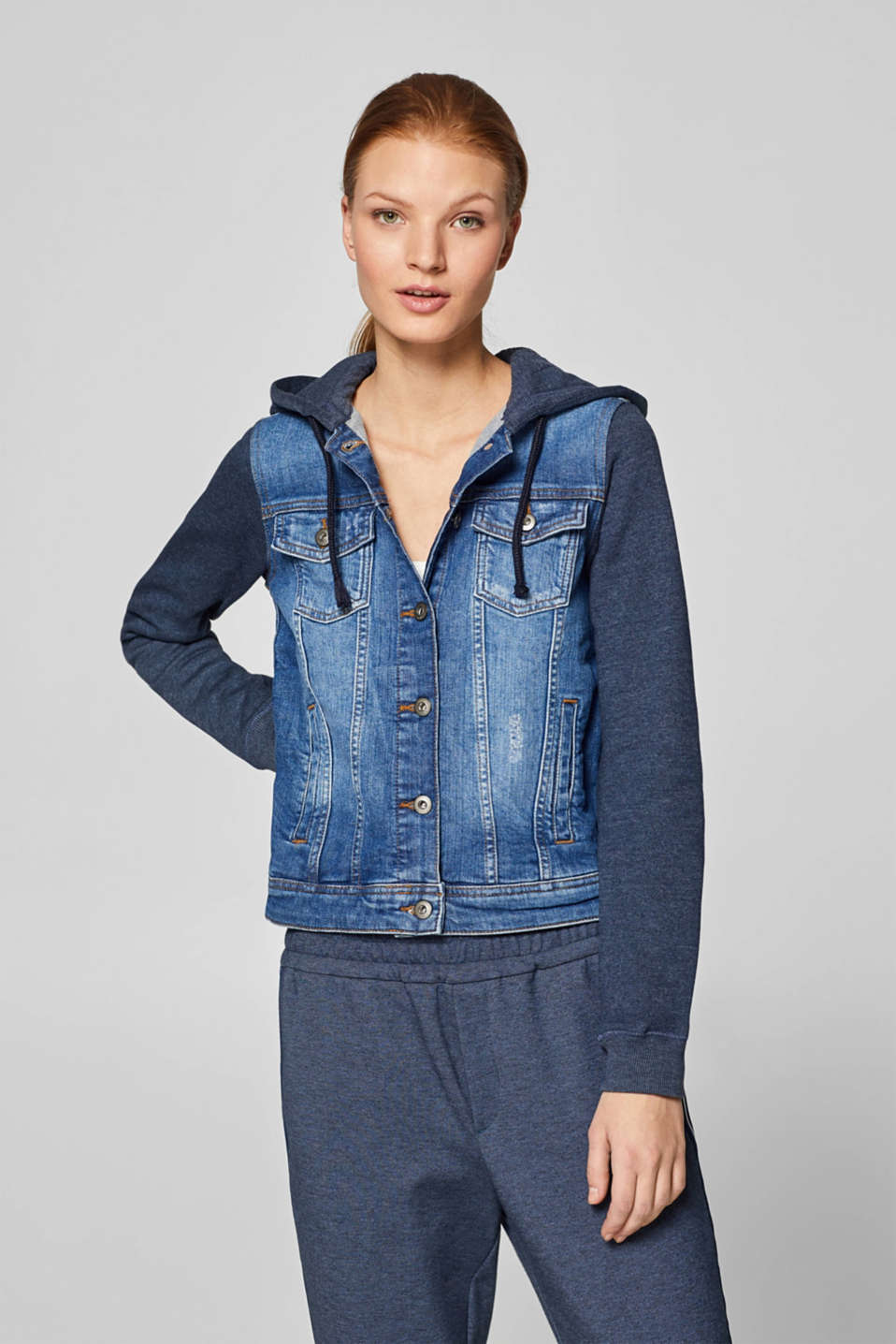 edc - Stretch denim jacket with sweatshirt details