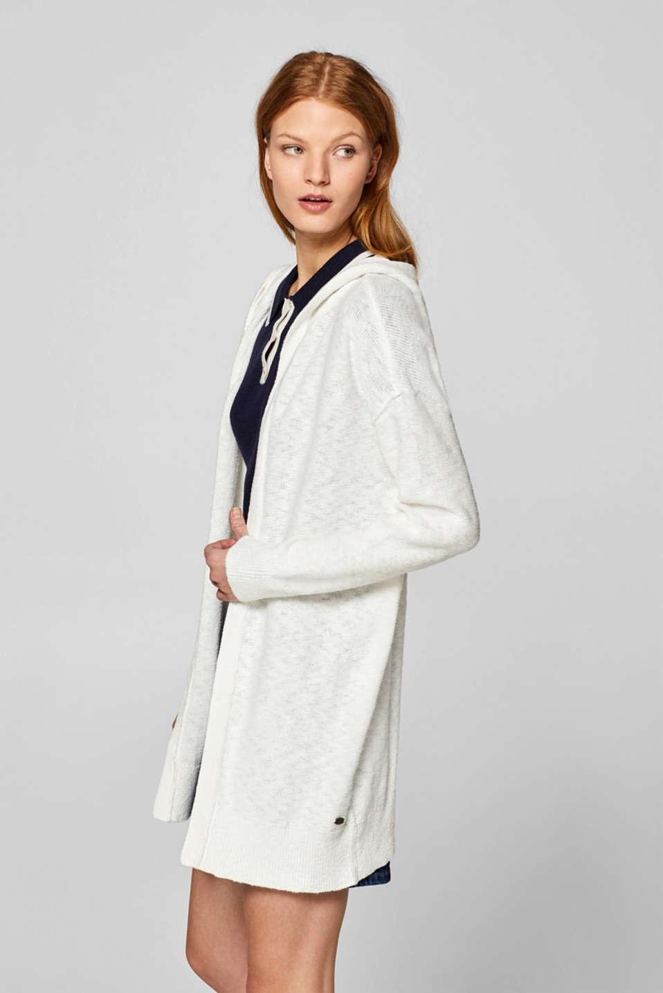 d5bcd426068a edc - Med linne: öppen kofta med huva i Esprits Online-Shop