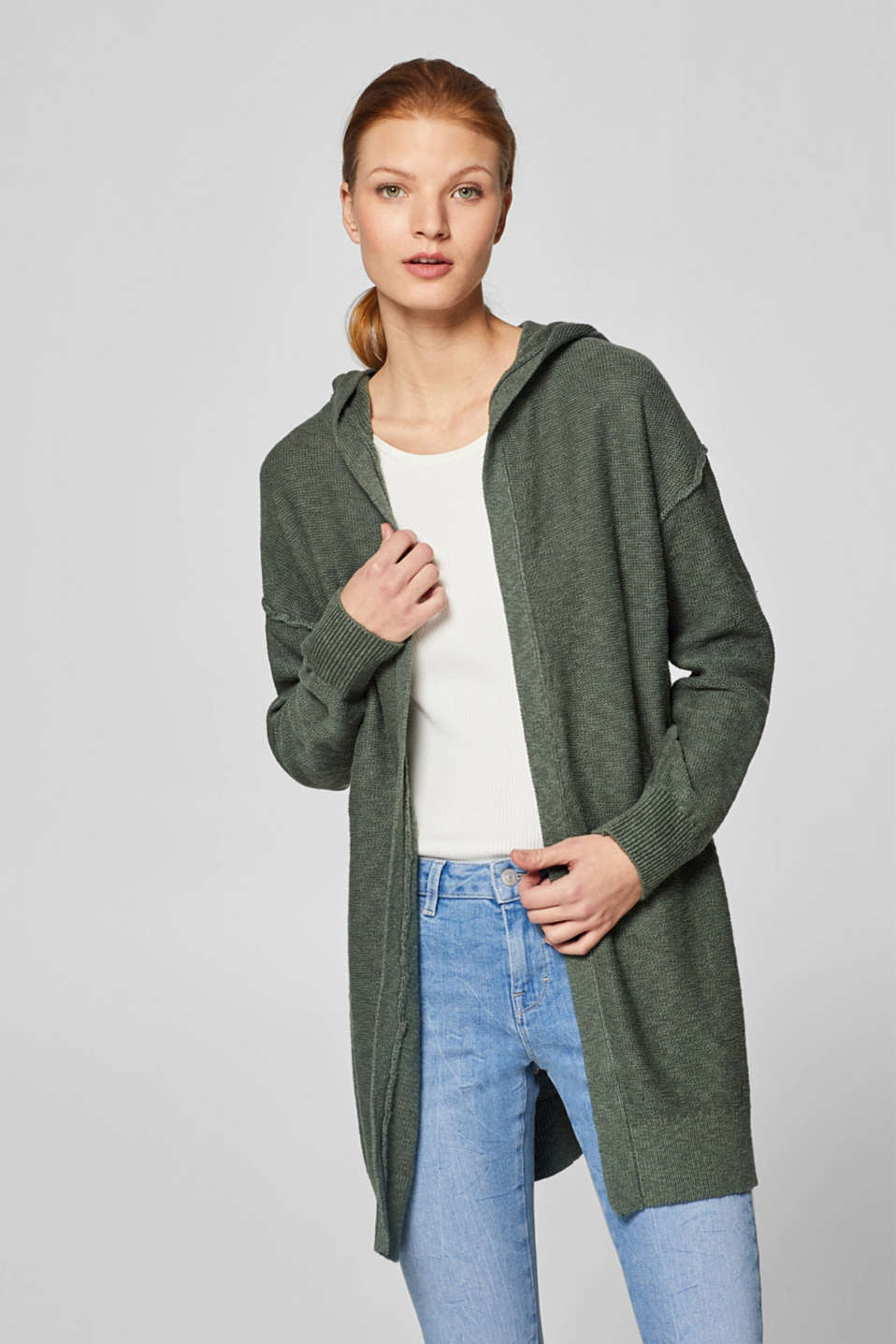 edc - With linen: open cardigan with hood