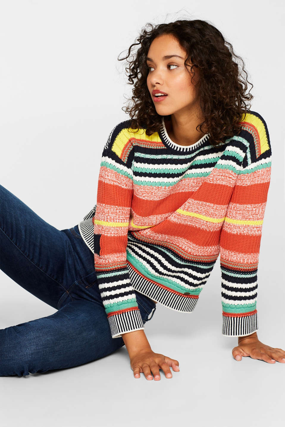 edc - Textured stripe jumper, 100% cotton