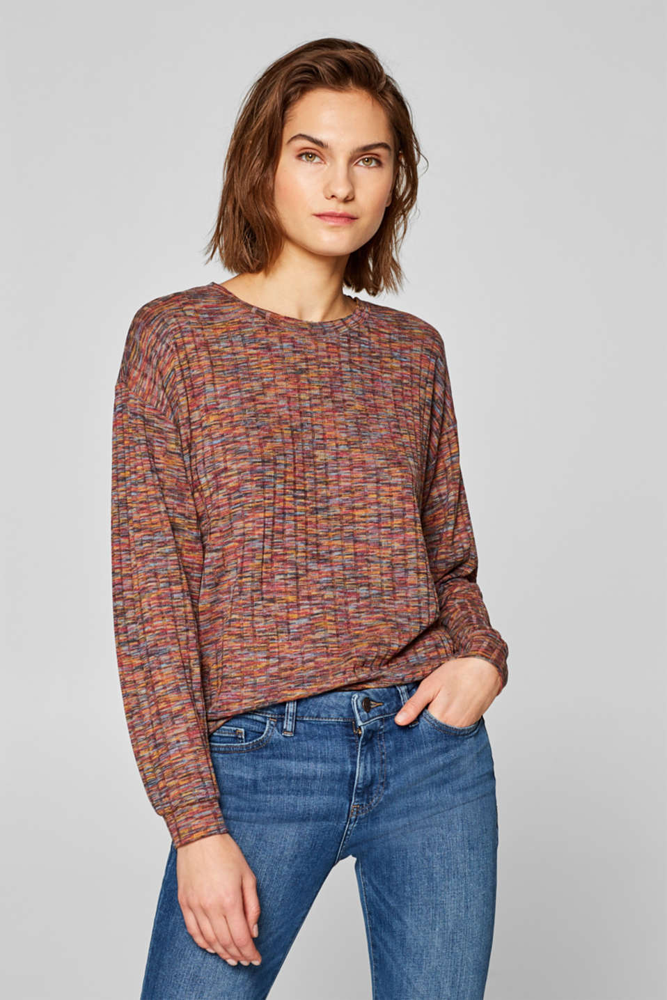 edc - Ribbed, multi-coloured long sleeve top with stretch