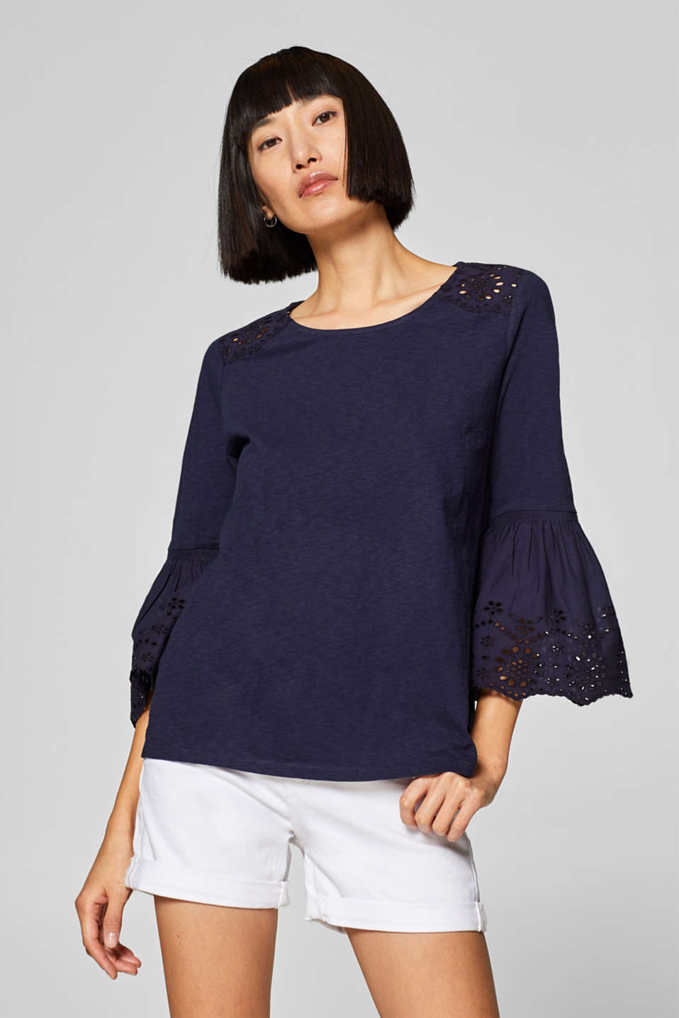 edc - Slub top with broderie anglaise, 100% cotton