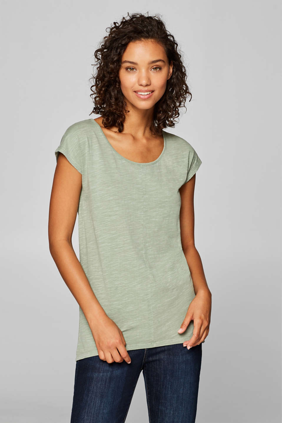 edc - T-shirt with a high-low hem, 100% cotton