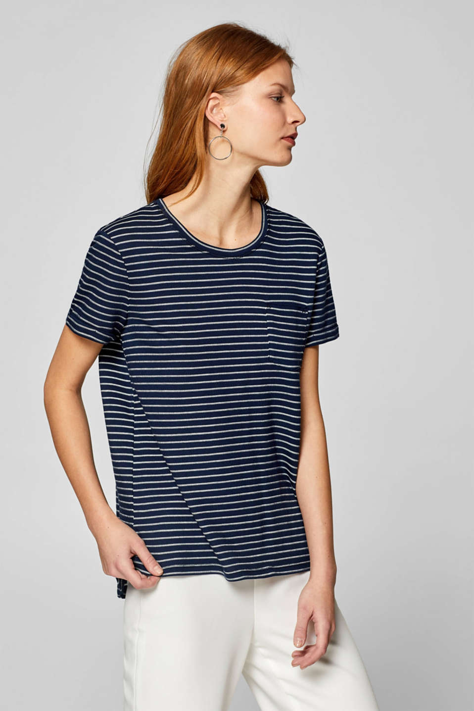 edc - T-shirt with textured stripes and breast pocket