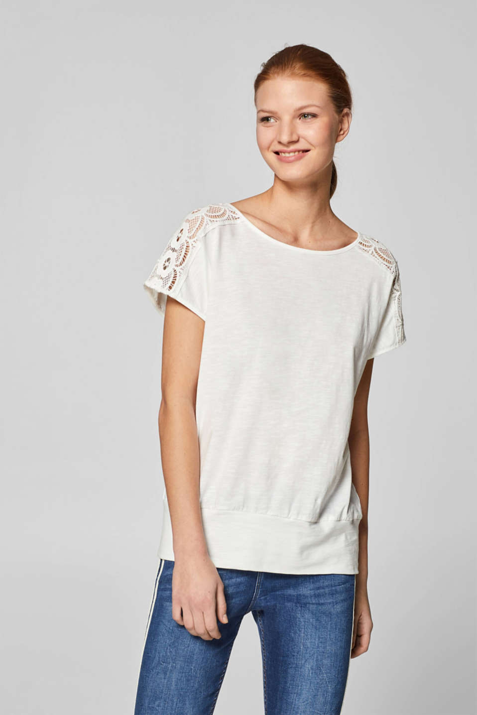 edc - Lace top with organic cotton, 100% cotton