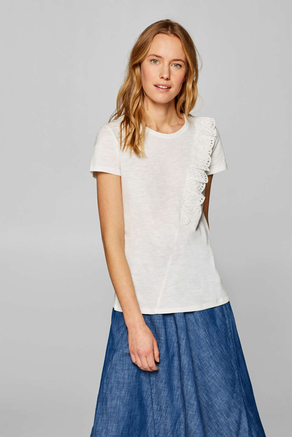 edc - Frilled T-shirt with organic cotton, 100% cotton
