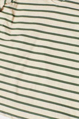 Linen blend: T-shirt with a large neckline
